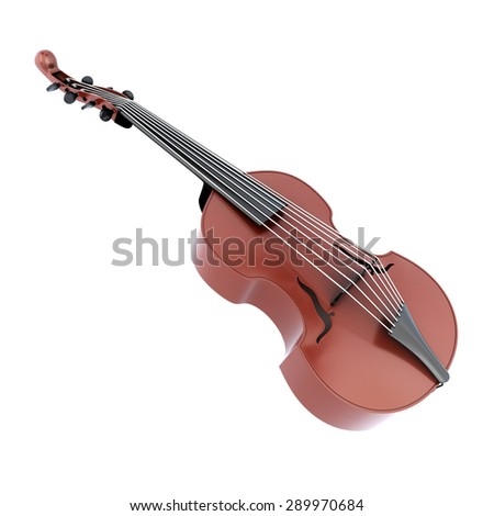 Viola d'amore isolated on white background. Music instrument. 3d illustration. - stock photo