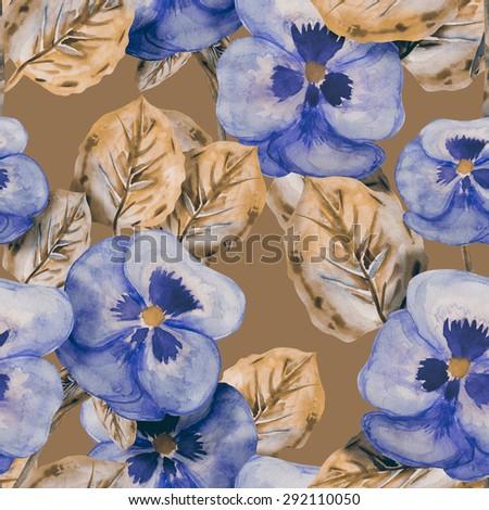 Viola flowers seamless pattern - stock photo