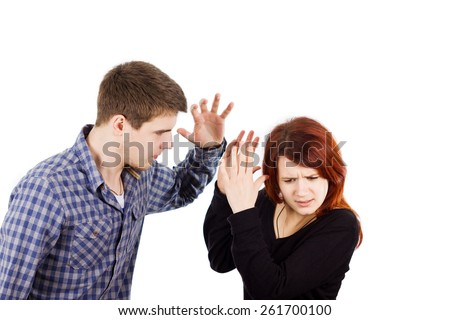 Violence man beating women,Fighting,Couple problems. - stock photo