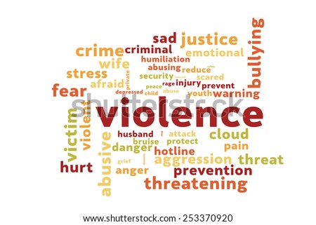 Violence word cloud - stock photo
