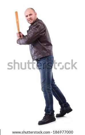 Violent man with baseball bat on white - stock photo