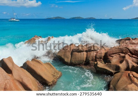Violent Surf Breaking Big Waves  - stock photo