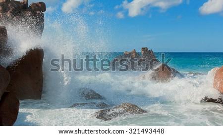 Violent Surf Magnificent Seychelles  - stock photo