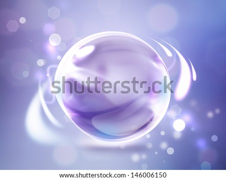 Violet abstract background with glossy sphere - stock photo