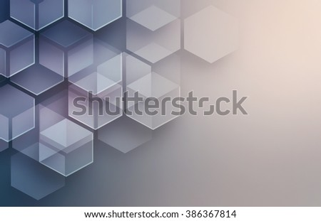violet abstract modern background with hexagon shapes - stock photo