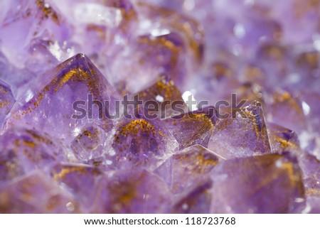 Violet Amethyst crystals close-up - stock photo