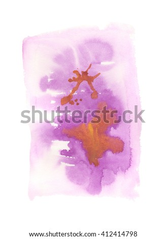 Violet and brown or orange abstract hand painted watercolor stains, abstract watercolor background with grunge texture, watercolor wash - stock photo