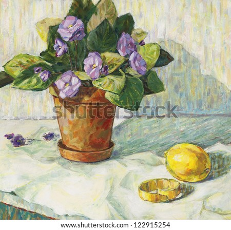 Violet and lemon. Painting. - stock photo