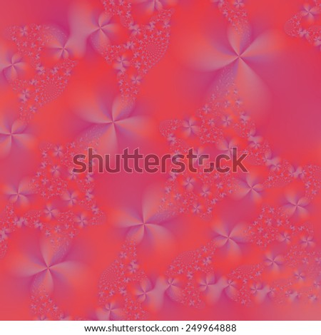Violet and Pink Abstract Flowers / A digital abstract image with a violet flower design on a pink background. - stock photo
