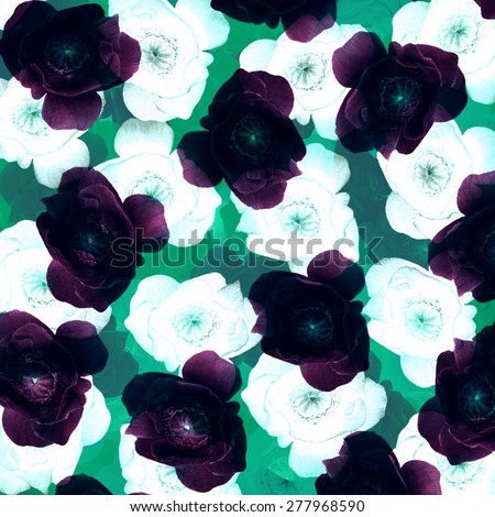 violet anemones and white roses, vintage background, fabric pattern - stock photo