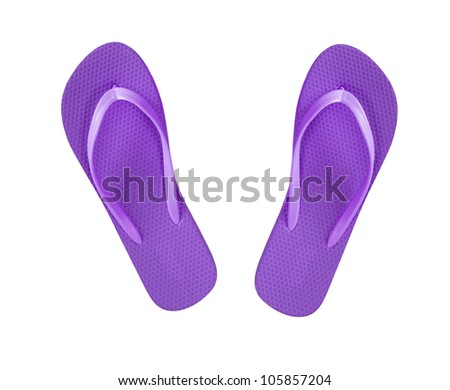 violet beach shoes flip-flop isolated on white - stock photo