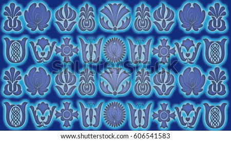 Violet-blue background with folk patterns can be used in the design textile, printing industry, in a variety of design projects.