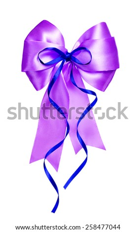 violet bow with blue ribbon made from silk isolated - stock photo