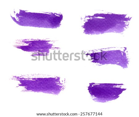 Violet brush strokes set - stock photo