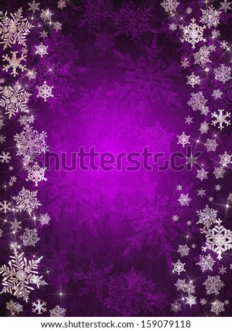 Violet christmas background with snowflakes - stock photo