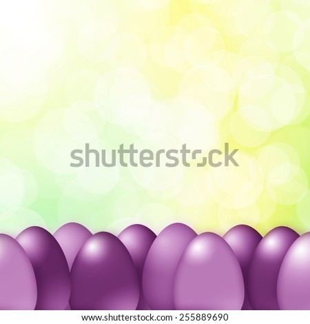 Violet color Easter eggs on sunny bright spring color background. - stock photo