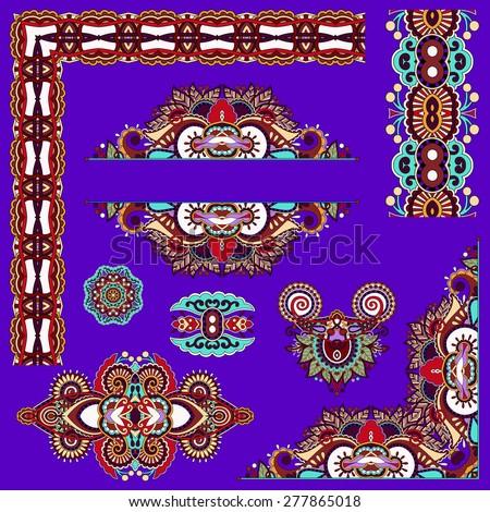 violet colour set of paisley floral design elements for page decoration, frame, corner, divider, circle snowflake, stripe pattern, raster version - stock photo
