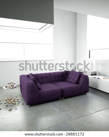 Violet couch and modern architecture (3D render) - stock photo