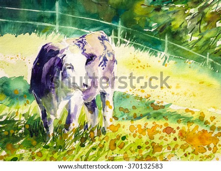 Violet cow on summer pasture Picture created with watercolors.