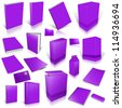 Violet 3d blank cover collection, isolated on white - stock photo