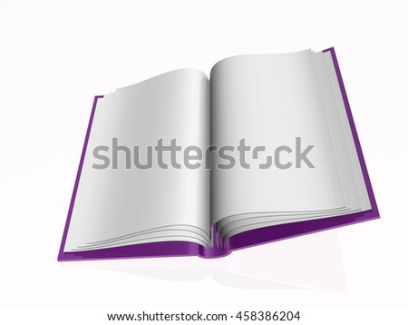 Violet 3D book on white reflective background. - stock photo