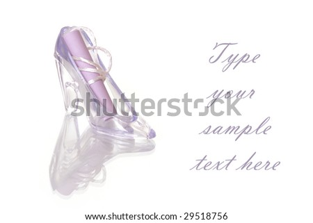 Violet decorated shoes and paper message