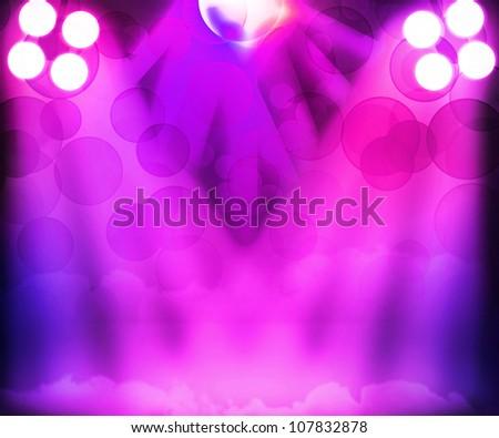 Violet Disco Stage Spotlight Background - stock photo