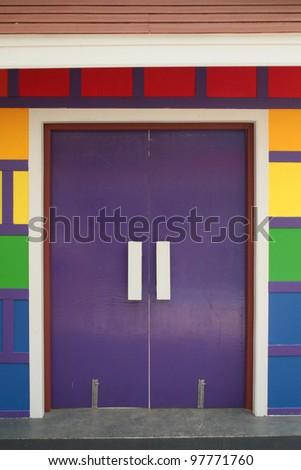 violet door - stock photo