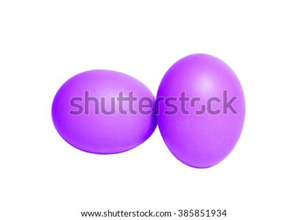 violet easter eggs on white background