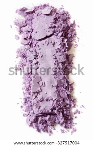 Violet eye shadow crushed cosmetic isolated on white background - stock photo