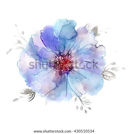 Violet flower in watercolor paintings. Luxurious flower painted in pastel colors.  - stock photo