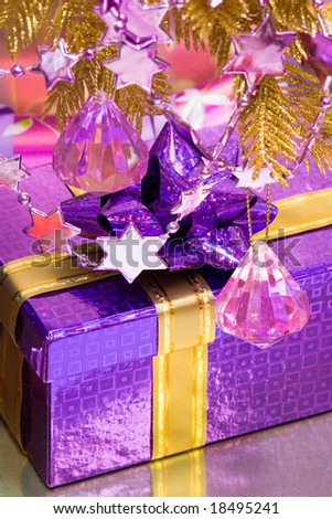 violet gift box with decoration