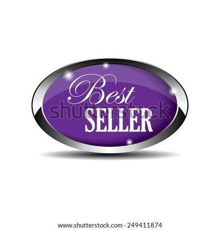 Violet Glossy Style Best Seller Icon, Badge, Button, Label or Sticker Isolated on White Background.  - stock photo