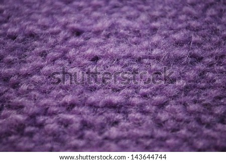 Violet knitting wool texture macro detail background horizontal - stock photo