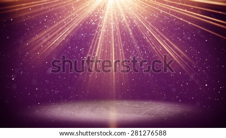 violet light beams and particles. computer generated abstract background - stock photo