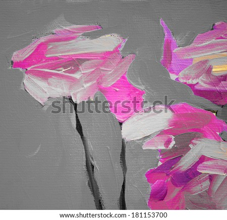 violet lilac decorative flowers on a grey background, painting by oil on canvas, background - stock photo