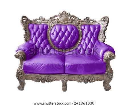 Violet luxurious sofa on white background. clipping path.