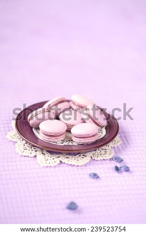 Violet Macarons with Blueberry Cream Filling on a purple plate and candied violet petals on a light purple background. - stock photo