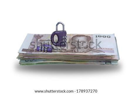 Violet Master Key using for  Money Saving Concept - stock photo