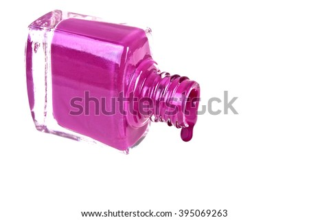 Violet nail polish on a white background
