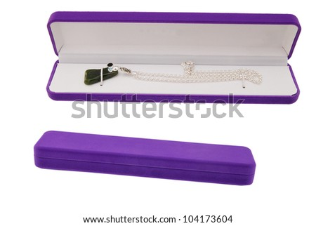 Violet necklace gift on white - stock photo