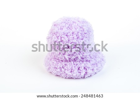 Violet newborn knitting wool on isolate white background