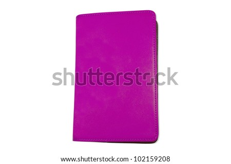 violet notebook isolated on white
