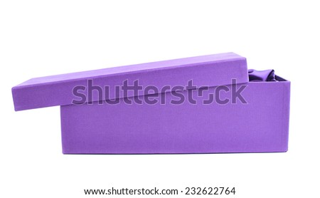 Violet opened tall gift box with the velvet cloth inside, isolated over the white background