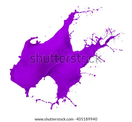 violet paint splash isolated on white background - stock photo