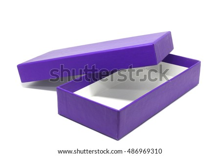 Violet paper box isolated on white background