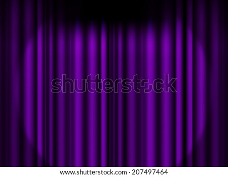 Violet /purple curtain stage with spot light background - stock photo
