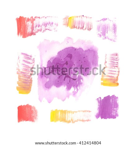Violet, red and yellow abstract hand painted watercolor stains, abstract watercolor blots or blobs with grunge texture, watercolor wash - stock photo