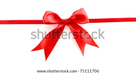 Violet  ribbon and bow isolated on white background - stock photo
