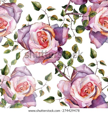 Violet rose, watercolor, pattern seamless - stock photo